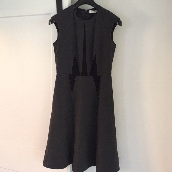 Calvin Klein Dresses & Skirts - Calvin Klein grey black work dress 4 fit flare